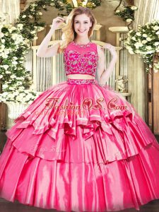 Great Scoop Sleeveless Zipper Sweet 16 Quinceanera Dress Hot Pink Tulle