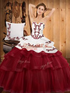 Sleeveless Sweep Train Lace Up Embroidery and Ruffled Layers 15 Quinceanera Dress