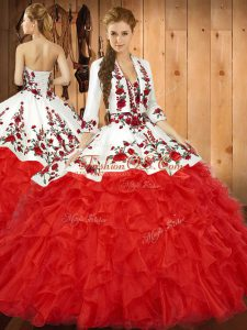 Red Ball Gowns Sweetheart Sleeveless Tulle Floor Length Lace Up Embroidery and Ruffles 15 Quinceanera Dress