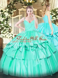 Ideal Turquoise Zipper 15th Birthday Dress Ruffled Layers Sleeveless Floor Length