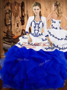 Low Price Strapless Sleeveless Quinceanera Gown Floor Length Embroidery and Ruffles Blue Satin and Organza