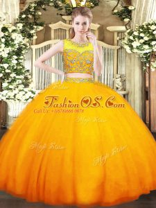 Beauteous Scoop Sleeveless Zipper Sweet 16 Dress Orange Tulle