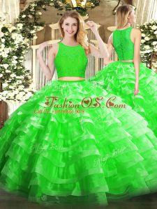 Edgy Floor Length Green Vestidos de Quinceanera Organza Sleeveless Lace and Ruffled Layers