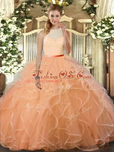 Wonderful Sleeveless Floor Length Ruffles Backless Sweet 16 Dresses with Peach