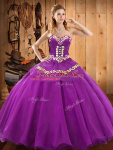 Purple Ball Gowns Satin and Tulle Sweetheart Sleeveless Embroidery Floor Length Lace Up Quinceanera Gown