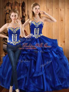 Fashionable Royal Blue Sweetheart Neckline Embroidery and Ruffles Sweet 16 Dress Sleeveless Lace Up