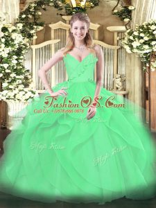 Green Quinceanera Gown Military Ball and Sweet 16 and Quinceanera with Ruffles and Ruching Spaghetti Straps Sleeveless Zipper