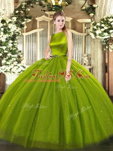 Olive Green Ball Gowns Belt Quinceanera Dress Clasp Handle Tulle Sleeveless Floor Length
