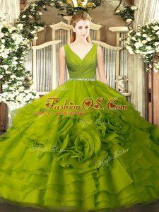 Olive Green Zipper Sweet 16 Quinceanera Dress Beading Sleeveless Floor Length