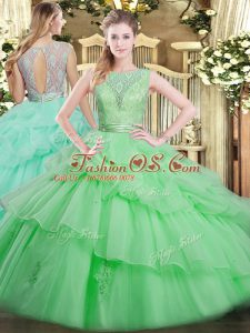 Tulle Scoop Sleeveless Backless Beading and Ruffled Layers Quinceanera Dresses in Apple Green