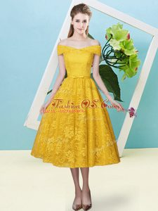 Cute Off The Shoulder Cap Sleeves Lace Up Bridesmaid Dress Gold Lace