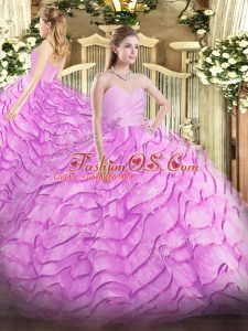 Cute Lilac Sweetheart Neckline Beading and Ruffled Layers Vestidos de Quinceanera Sleeveless Lace Up