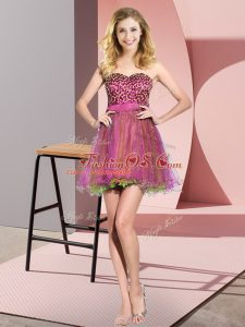 Noble Multi-color Empire Sweetheart Sleeveless Tulle Mini Length Lace Up Beading and Sequins Wedding Guest Dresses