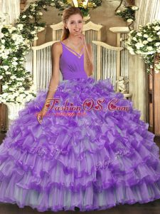 Super Beading and Ruffled Layers Ball Gown Prom Dress Lavender Backless Sleeveless Floor Length