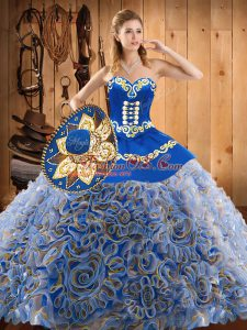 Satin and Fabric With Rolling Flowers Sleeveless With Train Quinceanera Gown Sweep Train and Embroidery