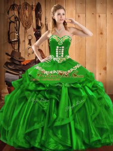 Sleeveless Floor Length Embroidery and Ruffles Lace Up 15 Quinceanera Dress with