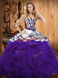 Sleeveless Satin and Organza Floor Length Lace Up Sweet 16 Dresses in Purple with Embroidery and Ruffles