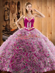 Shining Sweetheart Sleeveless Sweet 16 Dresses With Train Sweep Train Embroidery Multi-color Satin and Fabric With Rolling Flowers