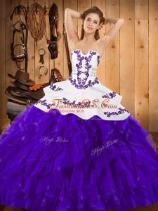 Adorable Floor Length Ball Gowns Sleeveless White And Purple Sweet 16 Quinceanera Dress Lace Up