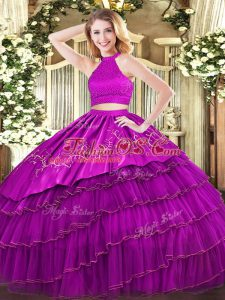 Halter Top Sleeveless Backless Quinceanera Gowns Fuchsia Organza