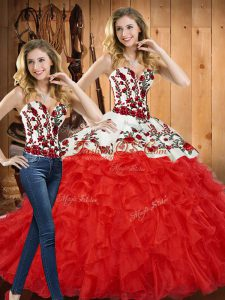 Enchanting Ball Gowns 15th Birthday Dress Red Sweetheart Tulle Sleeveless Floor Length Lace Up