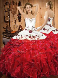 Beauteous Ball Gowns Ball Gown Prom Dress White And Red Halter Top Satin and Organza Sleeveless Floor Length Lace Up