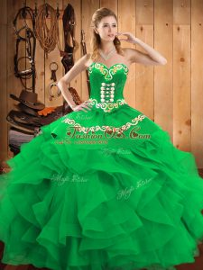 Green Satin and Organza Lace Up 15th Birthday Dress Sleeveless Floor Length Embroidery