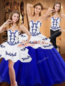 Royal Blue Lace Up Strapless Embroidery Quinceanera Dresses Tulle Sleeveless