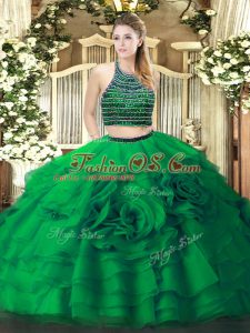 Pretty Green Two Pieces Halter Top Sleeveless Tulle Floor Length Zipper Beading and Ruffled Layers Quinceanera Gowns