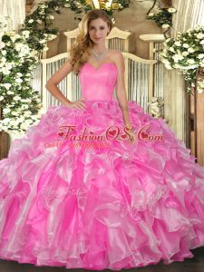 Ball Gowns Sweet 16 Quinceanera Dress Rose Pink Sweetheart Organza Sleeveless Floor Length Lace Up