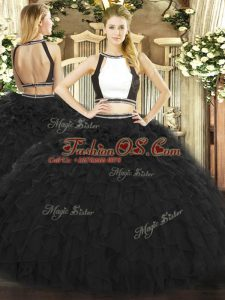 Pretty Two Pieces Sweet 16 Dresses Black Halter Top Tulle Sleeveless Floor Length Backless