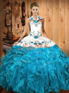 Custom Designed Halter Top Sleeveless Lace Up Sweet 16 Dress Baby Blue Satin and Organza