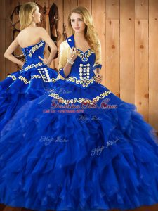 Floor Length Blue Ball Gown Prom Dress Satin and Organza Sleeveless Embroidery and Ruffles
