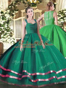 Sleeveless Zipper Floor Length Ruffled Layers and Ruching Sweet 16 Dresses