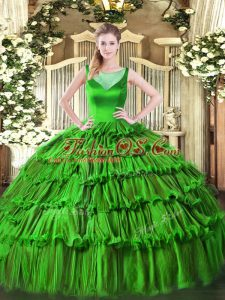 Smart Organza Sleeveless Floor Length Sweet 16 Quinceanera Dress and Beading and Ruffled Layers