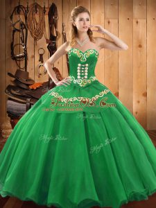 Dramatic Embroidery Ball Gown Prom Dress Green Lace Up Sleeveless Floor Length