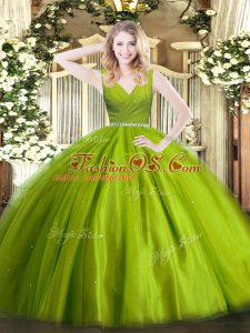 Floor Length Zipper 15 Quinceanera Dress Olive Green for Military Ball and Sweet 16 and Quinceanera with Beading