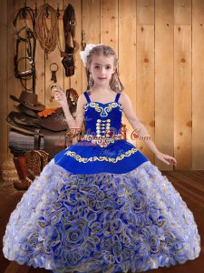 Latest Floor Length Multi-color Little Girls Pageant Gowns Fabric With Rolling Flowers Sleeveless Embroidery and Ruffles