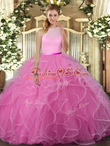Rose Pink Ball Gowns Tulle Scoop Sleeveless Beading and Ruffles Floor Length Backless Quinceanera Dresses