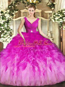 Noble Beading and Ruffles Sweet 16 Dresses Fuchsia Backless Sleeveless Floor Length