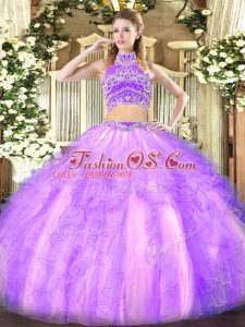 Ideal Lavender Tulle Backless Quinceanera Gowns Sleeveless Floor Length Beading and Ruffles