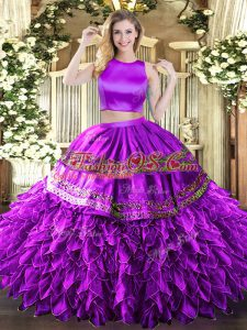 Noble Eggplant Purple Tulle Criss Cross High-neck Sleeveless Floor Length Ball Gown Prom Dress Ruffles and Sequins