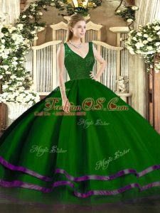 Gorgeous Tulle Sleeveless Floor Length Vestidos de Quinceanera and Beading and Ruffled Layers