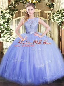 Ball Gowns Quinceanera Dress Lavender Scoop Tulle Sleeveless Floor Length Backless