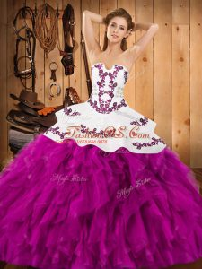 Delicate Fuchsia Sleeveless Floor Length Embroidery and Ruffles Lace Up 15th Birthday Dress