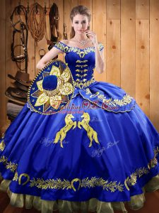 Off The Shoulder Sleeveless Satin and Organza Sweet 16 Dress Beading and Embroidery Lace Up