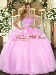 Charming Beading and Ruffles Sweet 16 Dress Pink Lace Up Sleeveless Floor Length