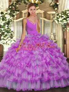 Lilac Organza Backless V-neck Sleeveless Floor Length Sweet 16 Dress Ruffled Layers
