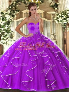 Smart Beading and Ruffles Ball Gown Prom Dress Eggplant Purple Lace Up Sleeveless Floor Length