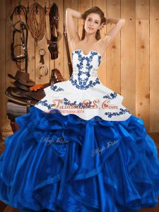 High Quality Blue Ball Gowns Strapless Sleeveless Satin and Organza Floor Length Lace Up Embroidery and Ruffles Sweet 16 Dress